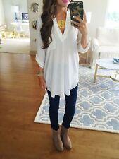 Fashion Womens Sexy-V Long Sleeve Loose Blouse Summer Chiffon Casual Shirt Tops