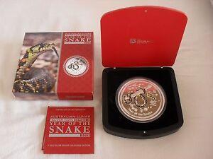 Lunar II Schlange Snake 1kg Silber 2013 PP Farbe nur 500 Stück