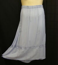 Long Embroidered Skirt 2X 18 20 Light Blue Peasant Boho Side Pockets (flaw)