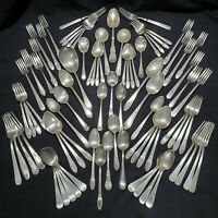 84 pc SILVERPLATE FLATWARE Vintage Lot Craft Jewelry Scrap mixed spoons & forks