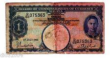 MALAYA Billet 1 $ DOLLAR 01/07/ 1941  KING GEORGE V