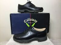 NOS CALLAWAY ERC Euro Saddle WO Sz 7.5 Black Leather Waterproof Golf Shoes W111
