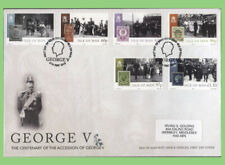 Isle of Man 2010 George V, Accession Centenary set on First Day Cover