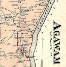 1870  AGAWAM, MA., MAP. VINTAGE MAP, NOT A REPRINT.