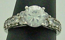 Silver Engagement/Wedding Ring, Size 8 Dazzling Estate White Stone Sterling