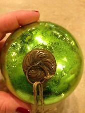 """Vintage Green Kugel Glass Ornament 4"""" Germany"""