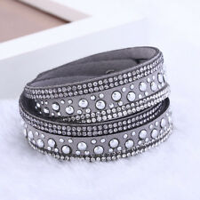 Gray & Silver Rhinestone Vegan Leather Wrap Bracelet
