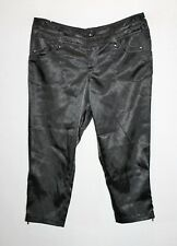 HANFEISE Brand Black Zip Bottoms Silky Crop Pants Size M/L BNWT #TD52