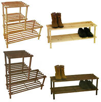 2 or 4 Tier Brown or Natural Wooden Shelf Storage Organiser Shoe Rack Stand