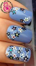 ADHESIVE NAIL ART STICKERS DECALS BLACK WHITE FLOWERS COLOURFUL GEM STONES #528