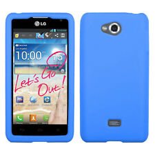 For MetroPCS LG Spirit 4G Rubber SILICONE Soft Gel Skin Case Phone Cover Blue