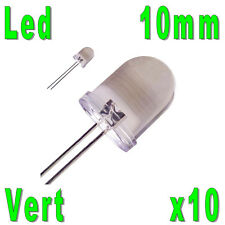10x LED 10mm Vertes 40000mcd
