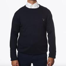 REDUCED STOCK - Gant Navy Blue Crew Neck Premium Cotton Mens Jumper - XXL / 2XL