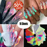 16Pcs Holographic Fire Flame Hollow Sticker Fire Nail Art Manicure Sticker UK RR
