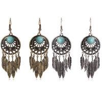 Fashion Vintage Women Turquoise Feather Tassel Dangle Ear Drop Earrings Jewelry