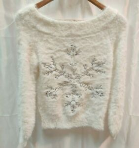 NEXT - Women's White Fluffy Snowflake Christmas Jumper Knitted Tag £30 - (CJ-2)