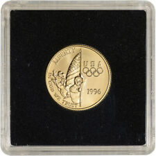 1996-W US Gold $5 Olympic Flag Bearer Commemorative BU - Coin in Square Holder