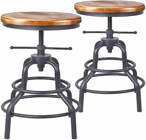 Industrial Vintage Bar Stools Swivel Kitchen Counter Height Adjustable Wooden