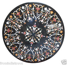 "42"" Black Round Dining Table Top Granite Inlaid Mosaic Handmade Decor Art H2383"