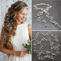 Pearl Headband Hair Vine Long Accessories Chain Headpiece Bridal Wedding Crystal
