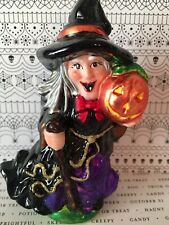 HALLOWEEN POLISH GLASS WITCH ORNAMENT LARGE PUMPKIN CAPE