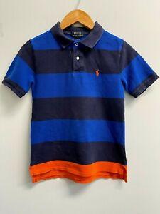GUC Ralph Lauren BOYS Size M(10-12) Polo Shirt Blue/Navy Striped Orange Pony