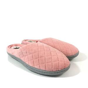 Dearfoams Microfiber Terry Quilted Clog Slippers Memory Foam Medium 7-8 Pink