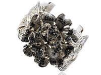 Silver Tone Black Crystal Rhinestone Spring Flower Wired Bracelet Bangle Cuff