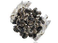 Silver Tone Black Crystal Rhinestone Spring Flower Wired Bracelet Bangle Cuff