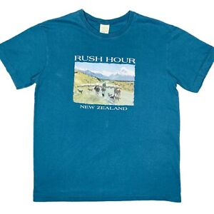 Rush Hour New Zealand Mens Blue T-Shirt Size Medium Single Stitch Made In NZ