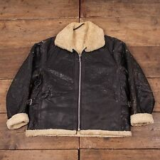 "Mens Vintage 60s Sheepskin Leather B-3 Fur Lined Flight Jacket Black L 44"" R4537"