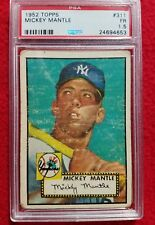 1952 Topps Mickey Mantle Yankees Rookie Baseball Card #311 PSA 1.5