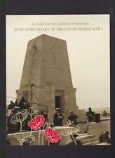 2008 90th Anniversary End World War 1 Australia/New Zealand Stamp Sheetlet Set