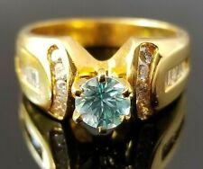 Bright Light Blue Zircon Diamond 14k yellow gold ring/band