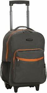 Luggage 17 Inch Rolling Backpack Wheeled School Travel Bag Carry-on Charcoal