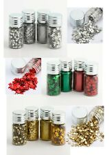 4 POTS CRAFT GLITTER SETS - GOLD SILVER RED/GREEN CHRISTMAS SPARKLES STARS DOTS