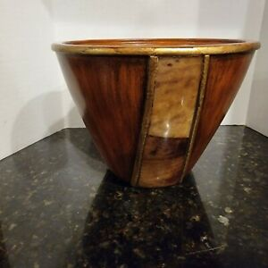 Maitland Smith Vintage Wood & Penshell Inlay Bowl Hand Made Phillipines