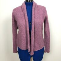 Jeanne Pierre Women's Size M 100% Wool Open Front Purple Sweater