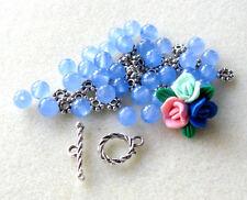 Polymer Clay Flower Bead Jade Blue Pink Green Silver Pewter Bracelet Beads Kit