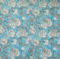 LIGHT BLUE WITH WHITE MONO ROSES- 100% COTTON FABRIC FQ'S