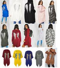 Ladies Sequin Angel Wings Back Oversized Hoodie Ladies Jacket Coat Cardigan 8-20
