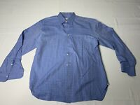 ERMENEGILDO ZEGNA XL Long Sleeve Men's Shirt Cotton Checkered Blue White