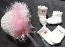 newborn Bonnet boots set 4 baby / reborn handmade white / pink butterflies roses