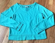 SO, junior girls size Large, green long sleeve shirt, lace back, fun, flirty top
