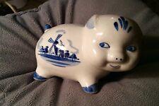 Adorable Delft Blue & White Piggy Bank WINDMILL Design  Happy Piggy!