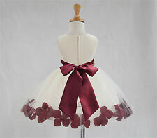 Ivory Flower Girl Dress Rose Petal Purple Pink Black Blue Green Yellow Red 306S1