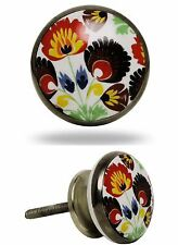 Möbelknauf Möbelgriffe Möbelknopf Modell ANINHA bunte Blumen Knauf Griff Knopf