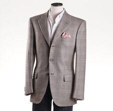 NWT $5695 BRIONI Oatmeal Windowpane Check 100% Cashmere Sport Coat 38 R
