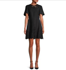 Valentino Wool & Silk Blend Lace-Trim Dress  Size:46/10    $3900 NWT