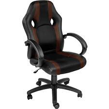 Chaise de bureau fauteuil siège racing sport tissu voiture ergonomique brun